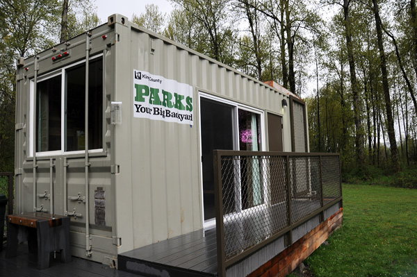 Tolt MacDonald Park shipping container camping cabin by Snoqualmie River exterior deck