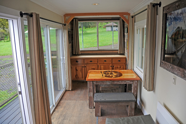 Tolt MacDonald Park shipping container camping cabin by Snoqualmie River interior dining area counter