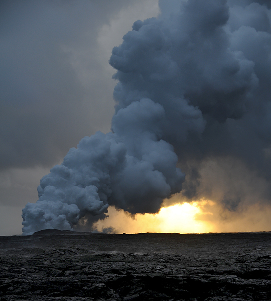 ... lava entering the Pacific Ocean and causing a massive steam cloud