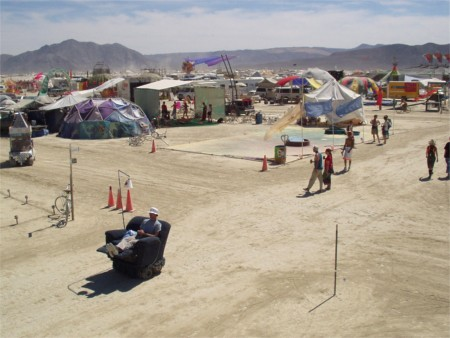 La-Z-Boy Chair On The Move At Burning Man