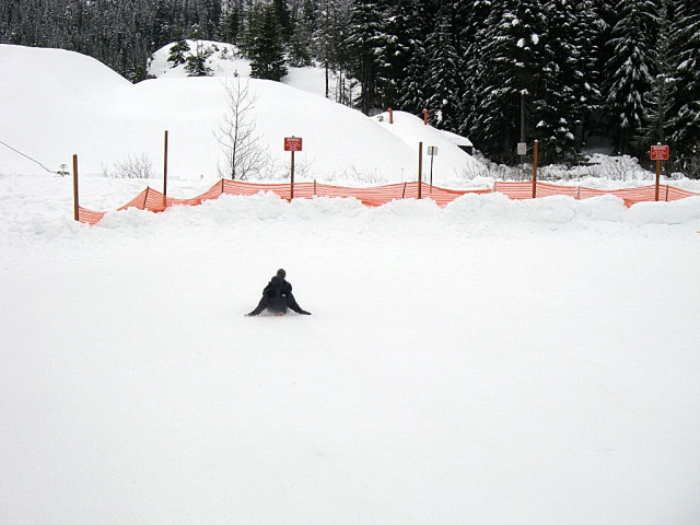 Hyak Sled Hill At Snoqualmie Pass Snow Park, Sledding To The