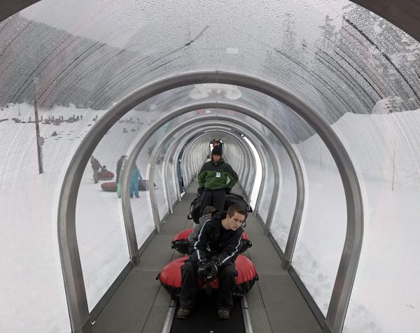 Snoqualmie Summit Tubing Center uphill people mover conveyor belt