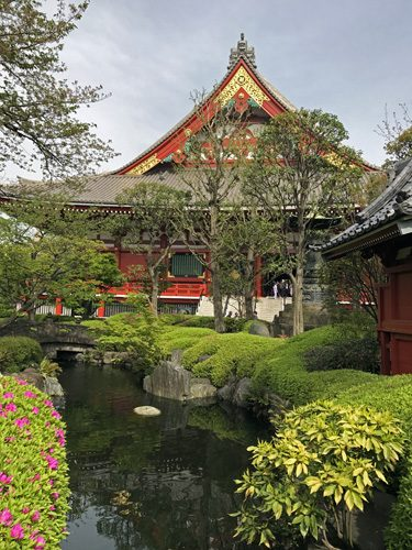 Senso-ji temple and reflective garden in Asakusa Tokyo Japan