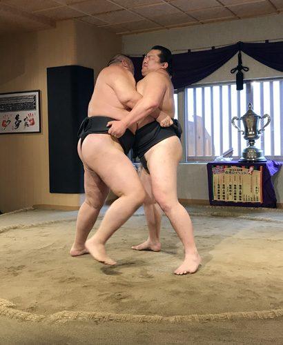 Sumo wrestlers competing in Tokyo Japan