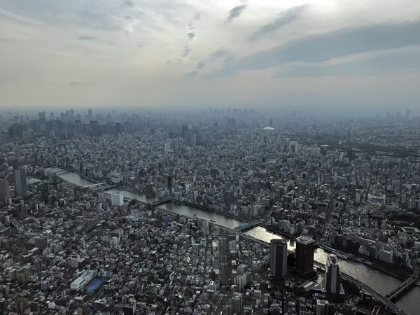Tokyo SkyTree view west over Asakusa and Tokyo Japan