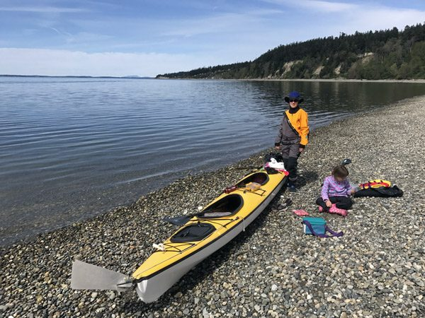 Triple kayak at Cama Beach State Park on Camano Island