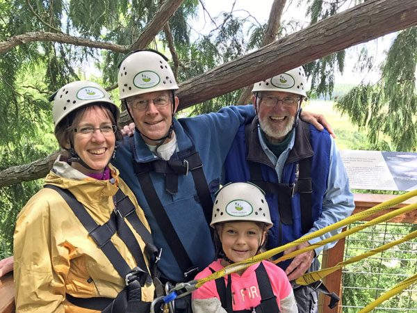Canopy Tours Northwest zip line tour on Camano Island family on tree platform