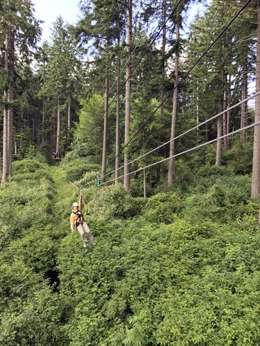 Canopy Tours Northwest zip line tour on Camano Island rider above trees