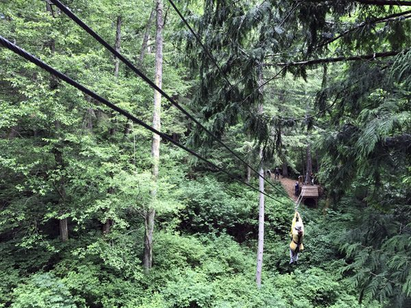 Canopy Tours Northwest zip line tour on Camano Island riding through trees