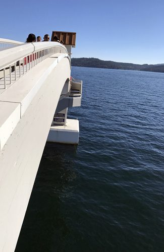 Lake Coeur d'Alene Resort marina floating dock pedestrian bridge view to lake