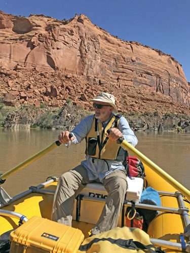 On oars rafting Westwater Canyon on Coloarado River Utah