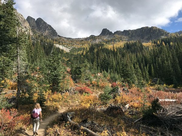 Hiking Blue Lake Trail with fall golden larches and multi-colored meadows