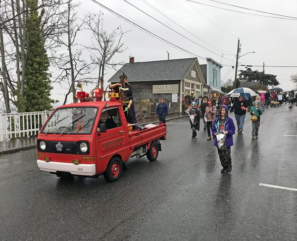Coupeville Torchlight Parade starting down Front Street