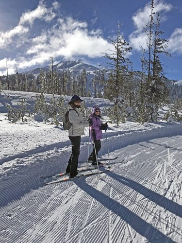 Cross-country skiing on Mt Bachelor Nordic Ski Center trails