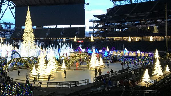 Enchant ice skating rink at Seattle Mariners baseball stadium Safeco Field