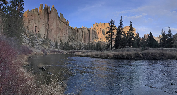 Smith Rock State Park Crooked River River Trail Christian Bros Dihedrals and Morning Glory Wall panorama