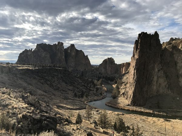 Smith Rock State Park looking west over Crooked River to Smith Rock