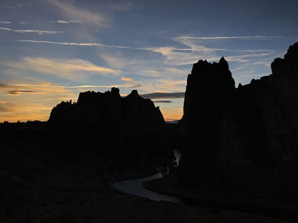 Smith Rock State Park sunset clouds and Crooked River