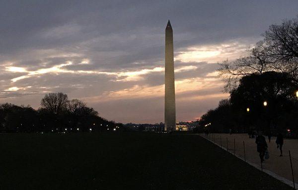 Sunset at Washington Monument on National Mall in Washington DC