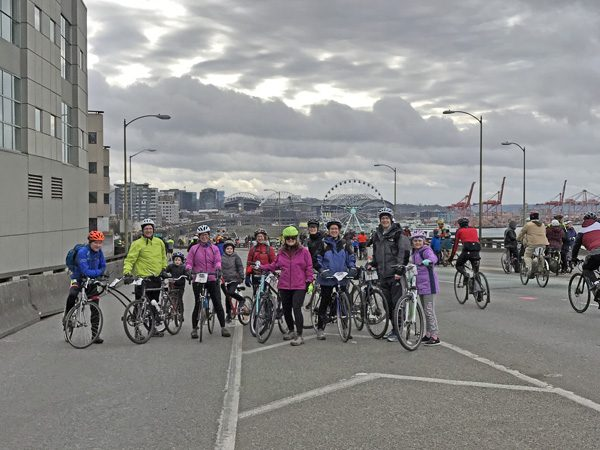 Seattle SR99 Tunnel Ride bike ride friends group on viaduct