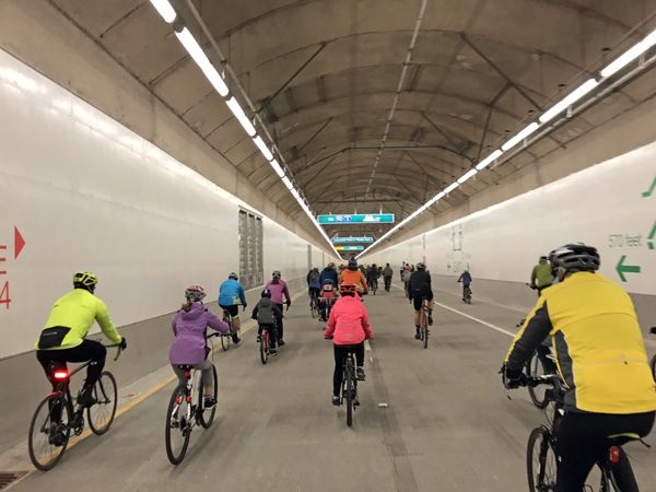 Seattle SR99 Tunnel Ride bike ride through waterfront tunnel