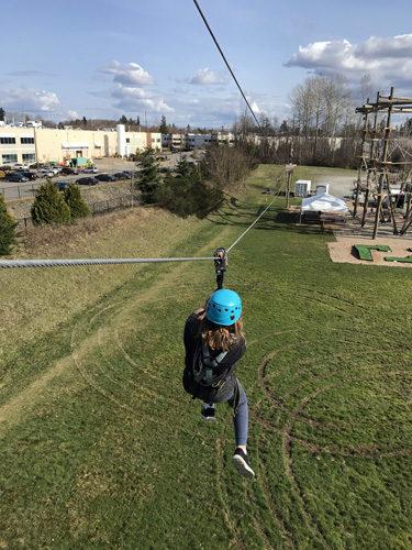 High Trek Adventures rope course Everett third zip line