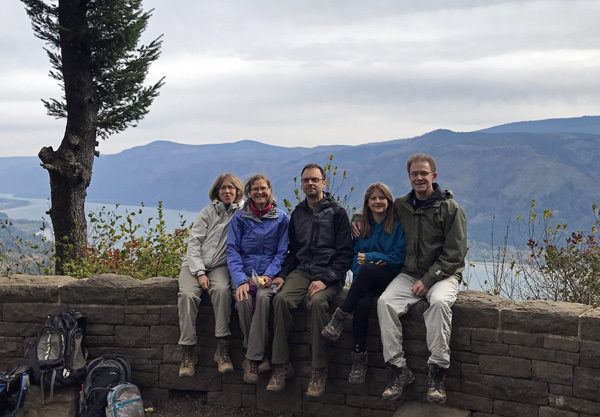 Hikers at Cape Horn trail viewpoint overlooking Columbia River Gorge