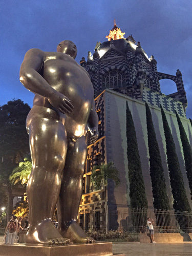 Adan sculpture by Fernando Botero in Plaza Botero Medellin Colombia