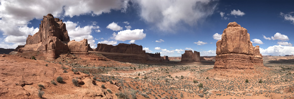 Arches National Park La Sal Mountains Viewpoint rock formations panorama