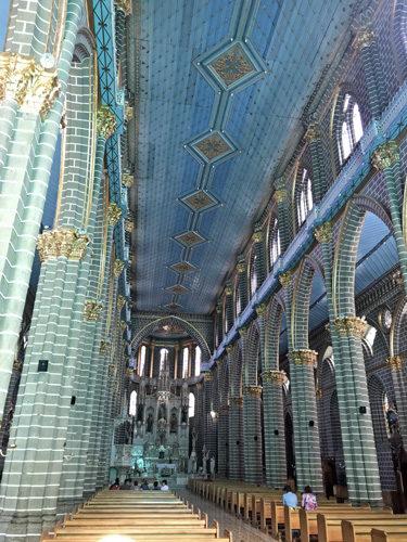 Basilica Menor de la Inmaculada Concepcion church blue interior on plaza in Jardin Colombia