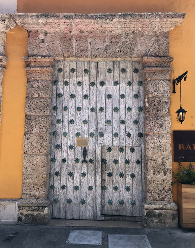 Cartagena Colombia ornate wooden house front entry doors