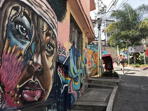 Comuna 13 graffiti wall murals art in Medellin Colombia