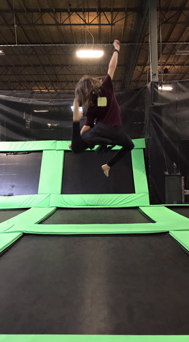 Elevated Sportz Trampoline Park Event Center bouncing fun stretch side
