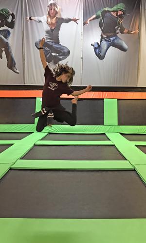 Elevated Sportz Trampoline Park Event Center bouncing fun stretch