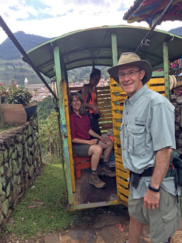 Entering La Garrucha aerial tram heading down to southern edge of Jardin Colombia