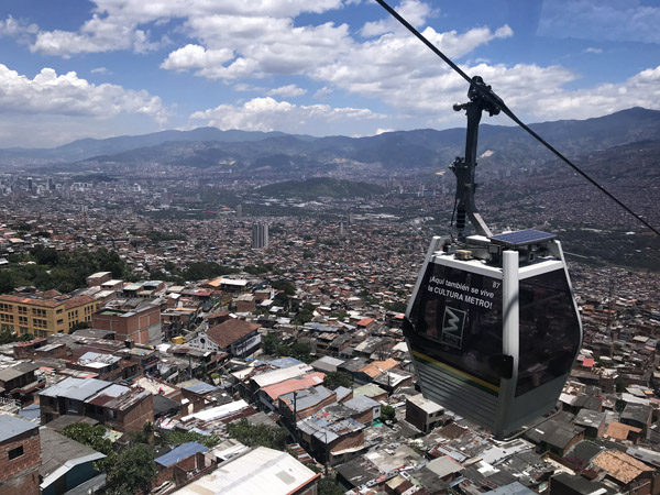 Medellin Colombia Metrocable aerial tram view of city