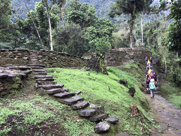 Trek group reaching The Lost City Ciudad Perdida in Colombia