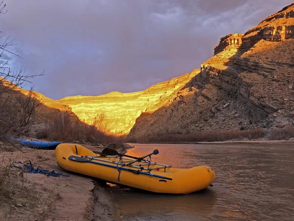 San Juan River Fossil Stop raft inflatable kayak sunset