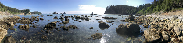 Olympic National Park Peninsula beach panorama between Scotts Bluff and Strawberry Point