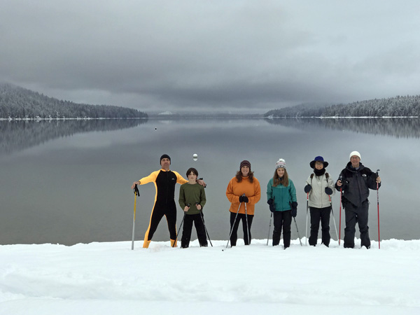 Cross-country skiing group at Lake Wenatchee State Park