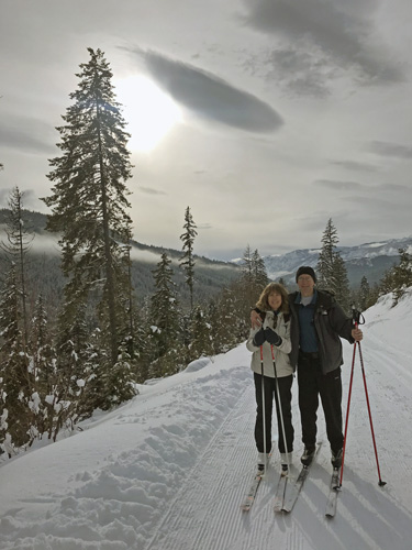 Cross-country skiing on Nason Ridge Trail in Plain WA
