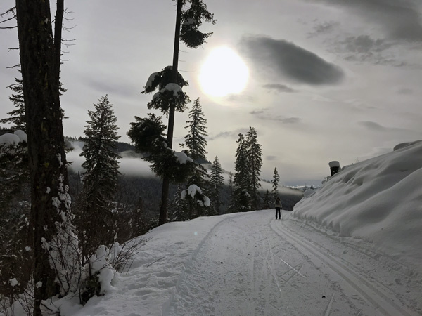 Cross-country skiing up Nason Ridge Trail in Plain Washington