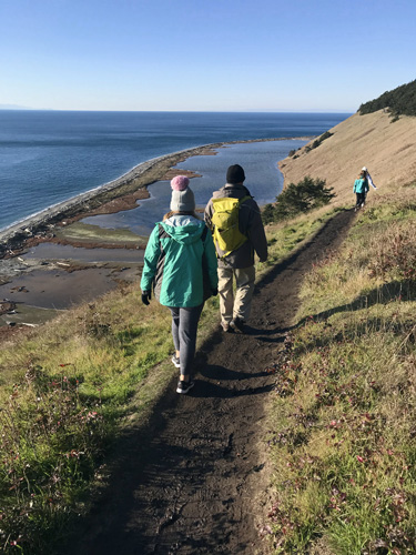 Hiking Ebey's Bluff Trail by Perego's Lagoon in Coupeville above Puget Sound beach