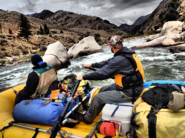 Rafting into tight rapids on Middle Fork of Salmon River in Idaho