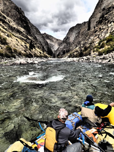 White water rafting through rapids on Middle Fork of Salmon River in Idaho