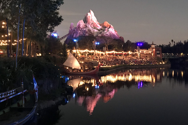 Walt Disney World Expedition Everest over Discovery River grandstands before River Of Light show