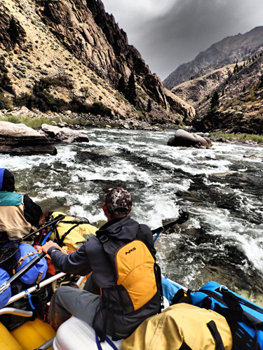 White water rafting through rapids and canyon walls on Middle Fork of Salmon River in Idaho